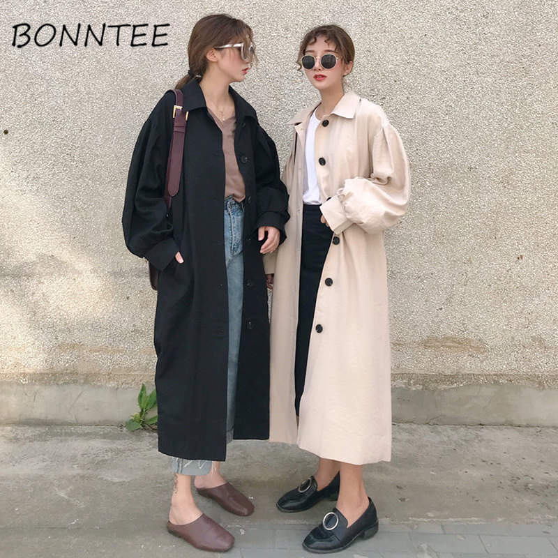 Trench   Women Loose Adjustable Waist Korean Solid Long Woman Coat Korean Style Chic Elegant Pocket All-match Outwear Womans Coats