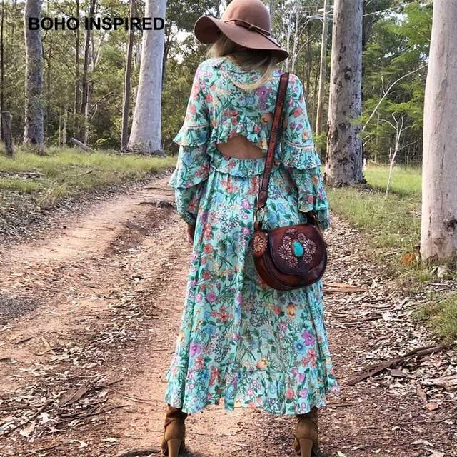 62ca0df089943 US $27.71 37% OFF INSPIRED summer dress asymmetrical hollow out back Frill  boho dresses floral print ruffles V neck women dress 2018 CHIC vestido-in  ...