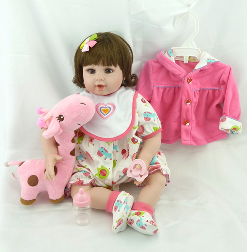 "ФОТО 22"" soft vinyl exquisite brown eyes adora doll reborn toddler baby high quality birthday gift doll set with milk bottle set"