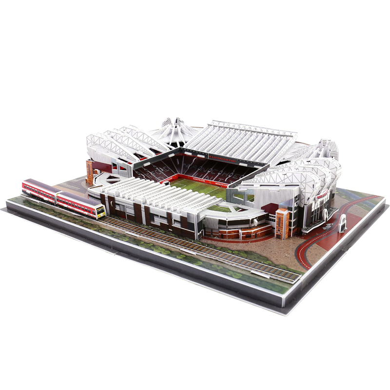 Classic Jigsaw Models The Red Devils Old Trafford Club Competition Football Game Stadiums DIY Brick Toys Scale Sets Paper
