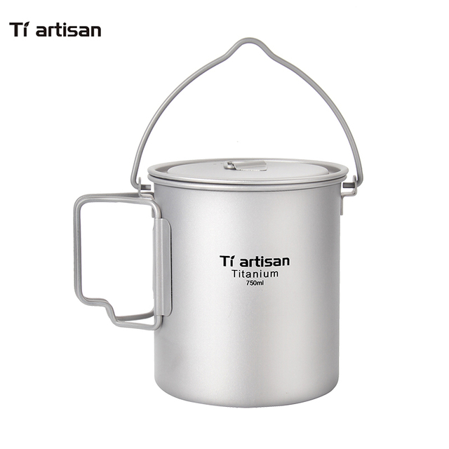 Tiartisan Ultralight PureTitanium 750ml Pot Outdoor Portable Cookware with Folding Handle and Bail handle Ta8315BH