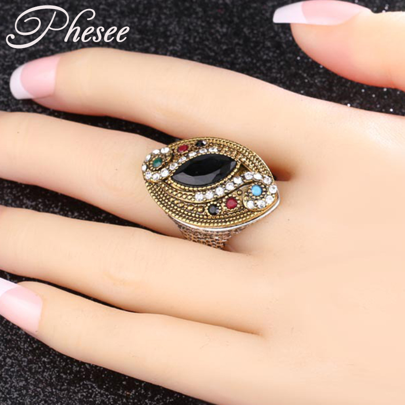 Phesee Antique Gold Color Alloy Colorful Resin Crystal Rings Bohemia Jewelry Statement For Women Good Quality