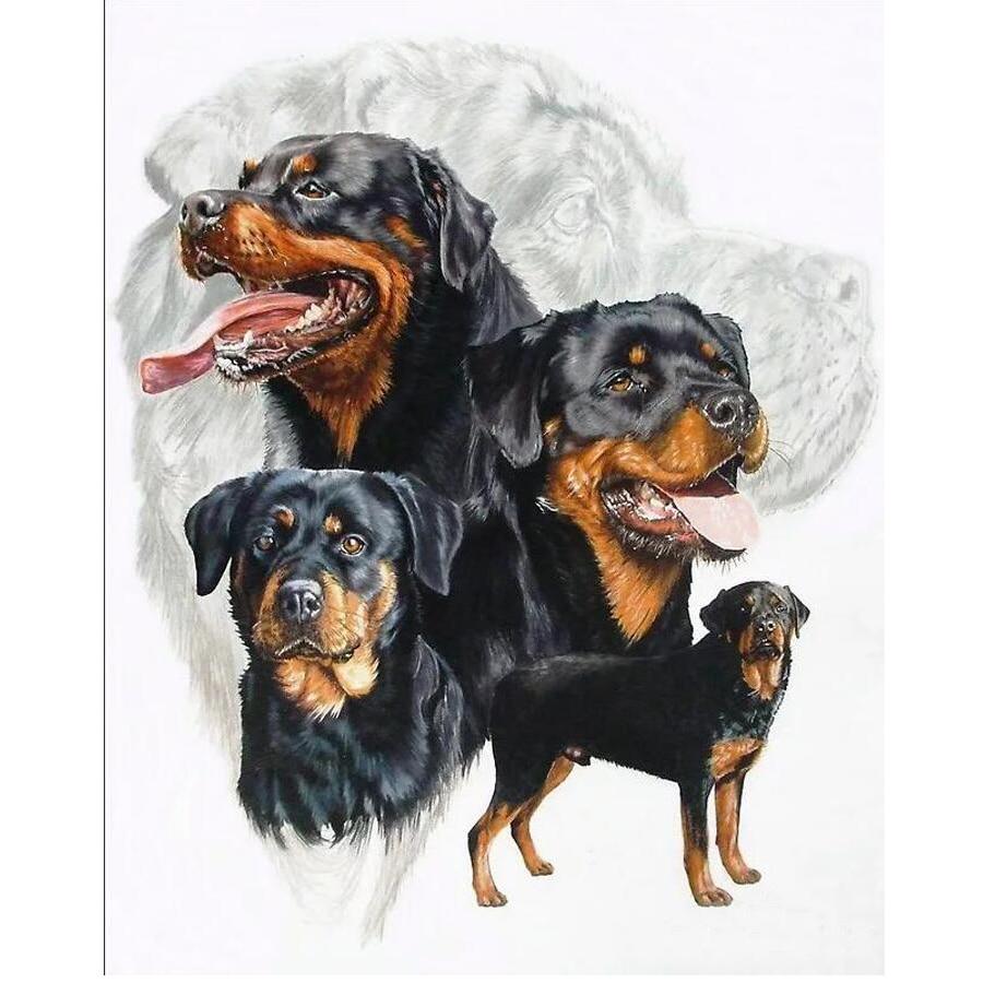 Diamond Mosaic Rottweiler Dog 3d Diamond Painting Cross Stitch