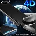Nueva 4D (nueva 3D) fría de cristal tallado para iphone 6 6 s 7 plus 9 h 4d borde completo cover protector de pantalla cubierta de vidrio templado completo