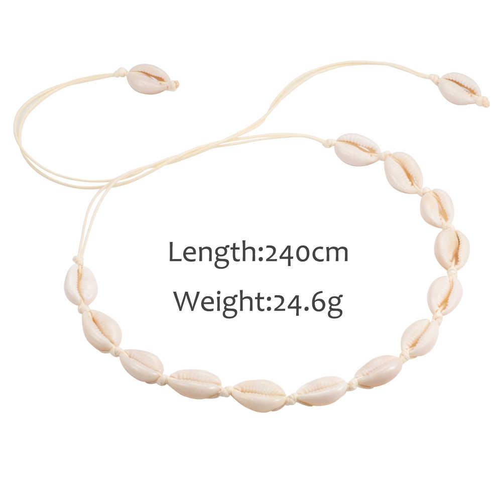 Venta caliente verano Boho conchas collares mujeres gargantilla mar Natural Conch colgante cuerda cadena collar joyería playa chica regalo Accesorios
