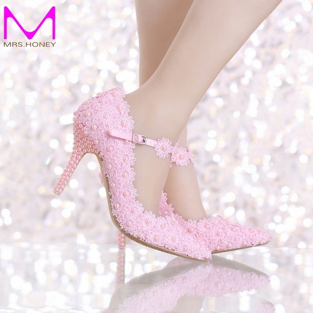 Spring Beautiful Weiß Lace Pointed Bridal Schuhes with Ankle Straps Pointed Lace 1614b7