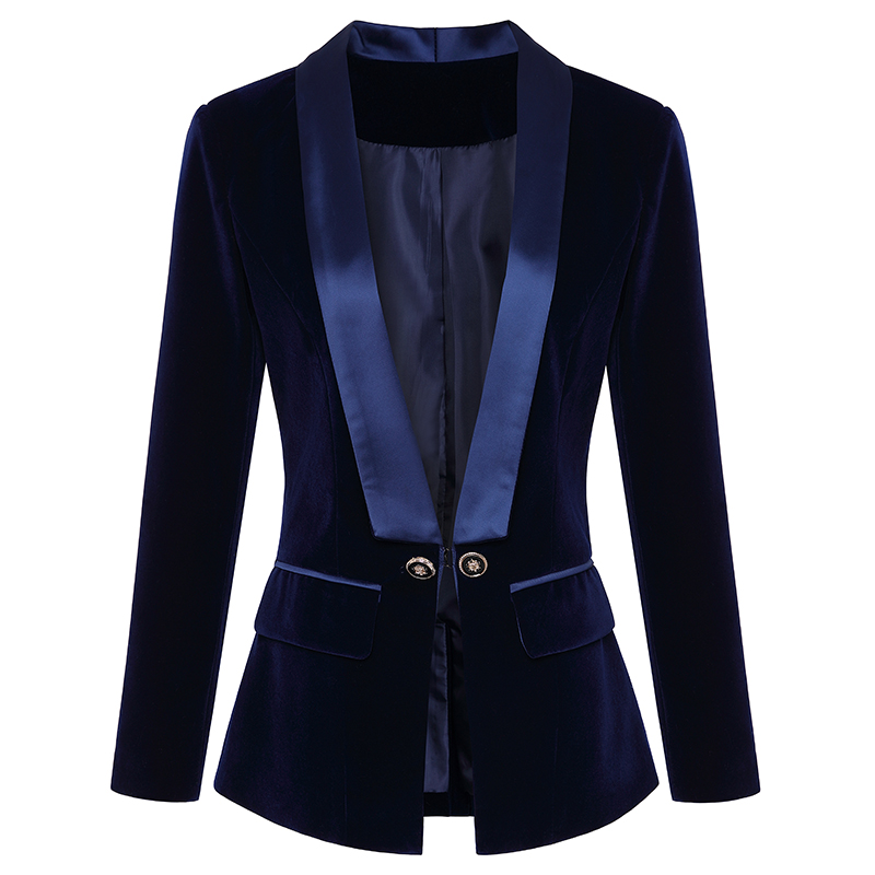 HIGH QUALITY Newest Runway 2019 Designer Blazer Women's Long Sleeve Velvet Blazer Jacket Outer Wear
