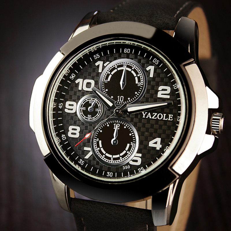 YAZOLE Top Brand Sport Watches Men's Watch Leather Luminous Wrist Watch Men Watch Clock relogio masculino erkek kol saati наземный высокий светильник fumagalli globe 250 g25 158 000 aye27