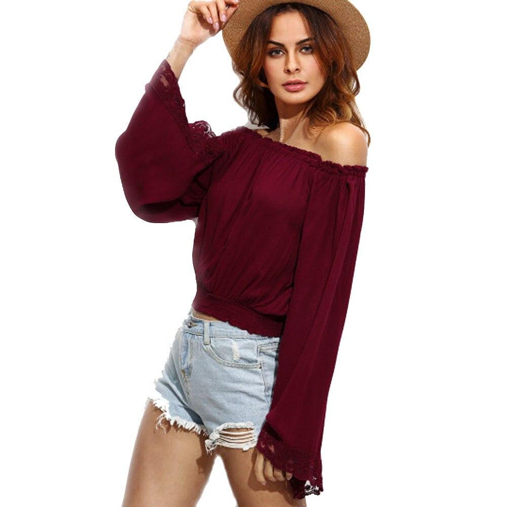 Fuera del Hombro Blusas Mujer Blusas tallas grandes Solid Casual 2017 nuevo otoñ