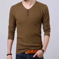 2017 Spring Pullover Men Casular V Neck Sweater Men Long Sleeve Mens Sweaters Wool Casual Brand