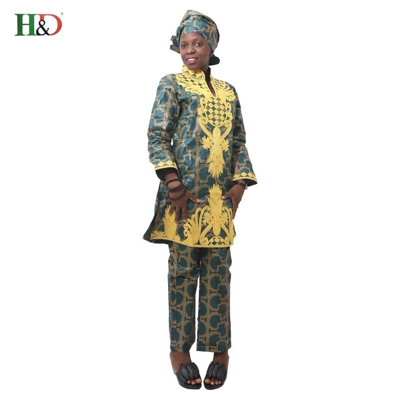 H & D Afrikansk bazin riche broderi design kjole lang topp med bukser - Nasjonale klær - Bilde 6