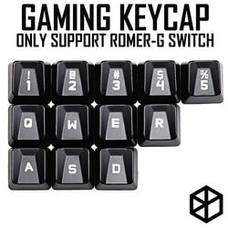 Zestaw kluczy do gier abs dla romer g profil oem shine-through12 Keycap 12345 qwer wasd dla logitech g pro g310 512 613 810 910 840