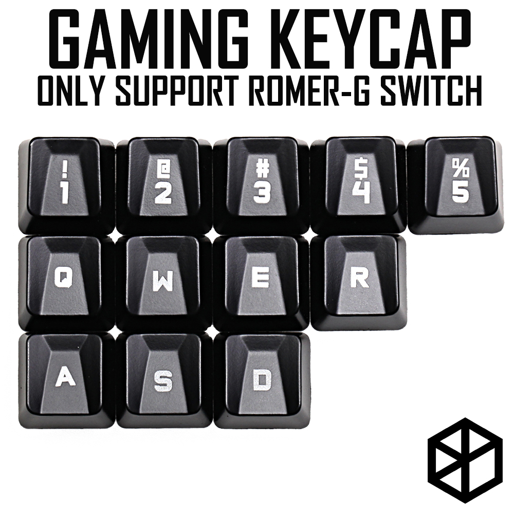 Abs Gaming Keycap Set For Romer G OEM Profile Shine-through12 Keycap 12345 Qwer Wasd For Logitech G Pro G310 512 613 810 910 840