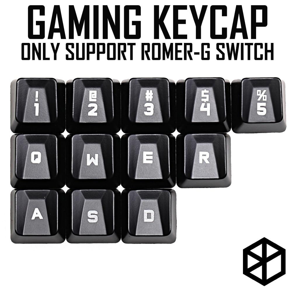 Abs Gaming Keycap Set For Romer G OEM Profile Shine-through12 Keycap 12345 Qwer Wasd For Logitech G Pro G310 512 613 810 910 840