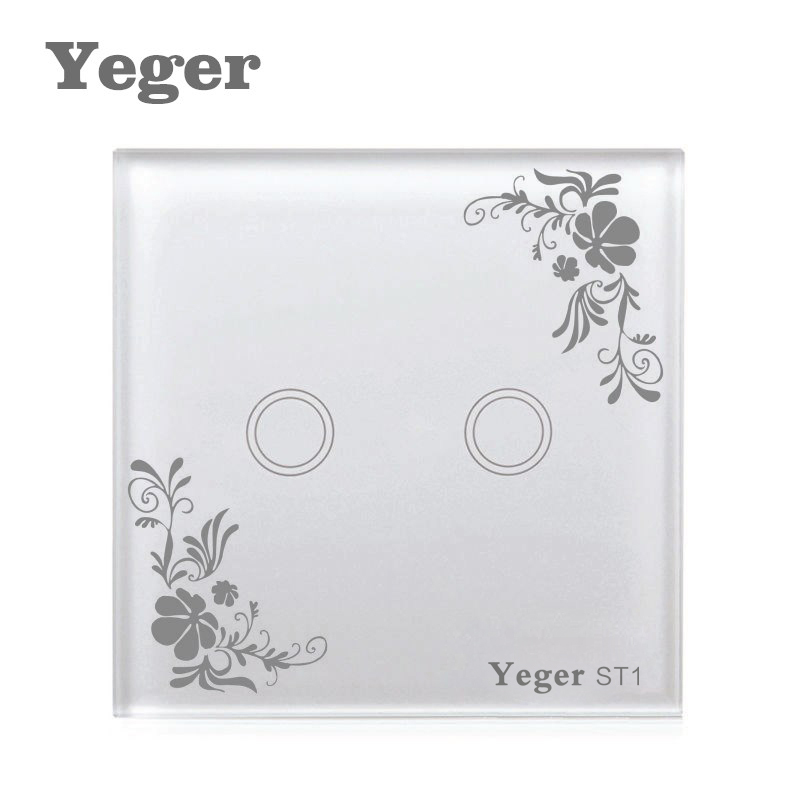 Yeger EU UK Standard Unique Firewire Touch Sensing Wall Switch Touch Switch 2 Gang 1 Way