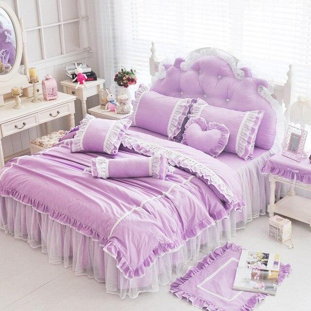 Wedding Beding Set Luxury White Lace Bed Set Cotton