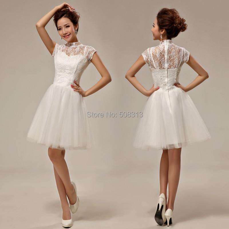 2015 Vintage Lace Short Bridal Gowns Latest Design Bridesmail Dress