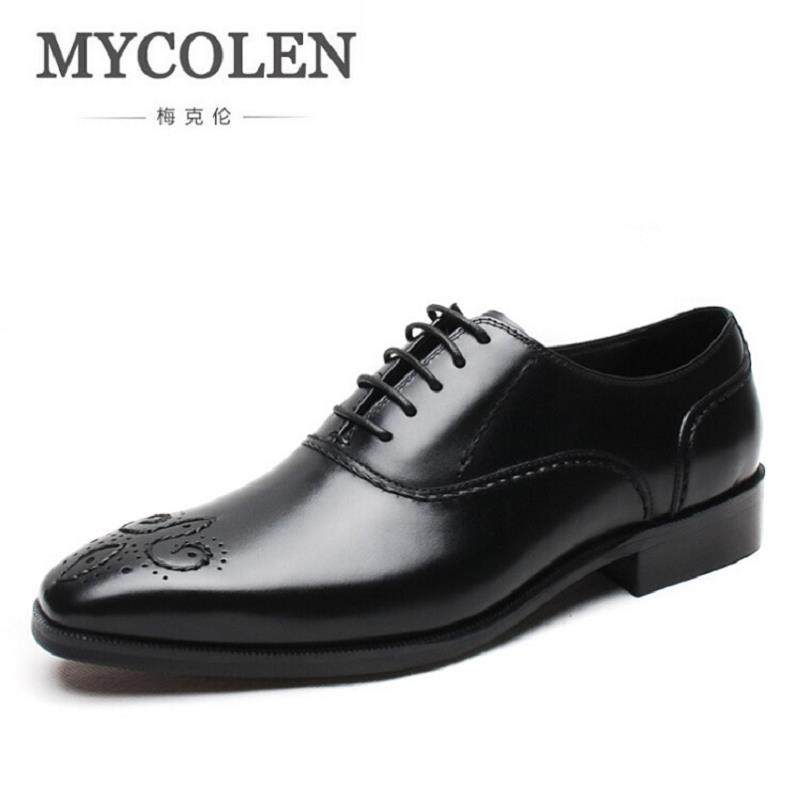 MYCOLEN Genuine Leather Luxury Italian Brogue Business Formal Dress Men Shoes British Style Classic Office Wedding Mens Shoes hot sale italian style men s flats shoes luxury brand business dress crocodile embossed genuine leather wedding oxford shoes