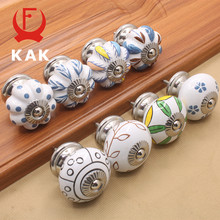 KAK 40mm Hand-painted Ceramic Drawer Knobs Porcelain Pumpkin Cabinet Knobs Cupboard Handles with base for Kids Furniture Handle(China)