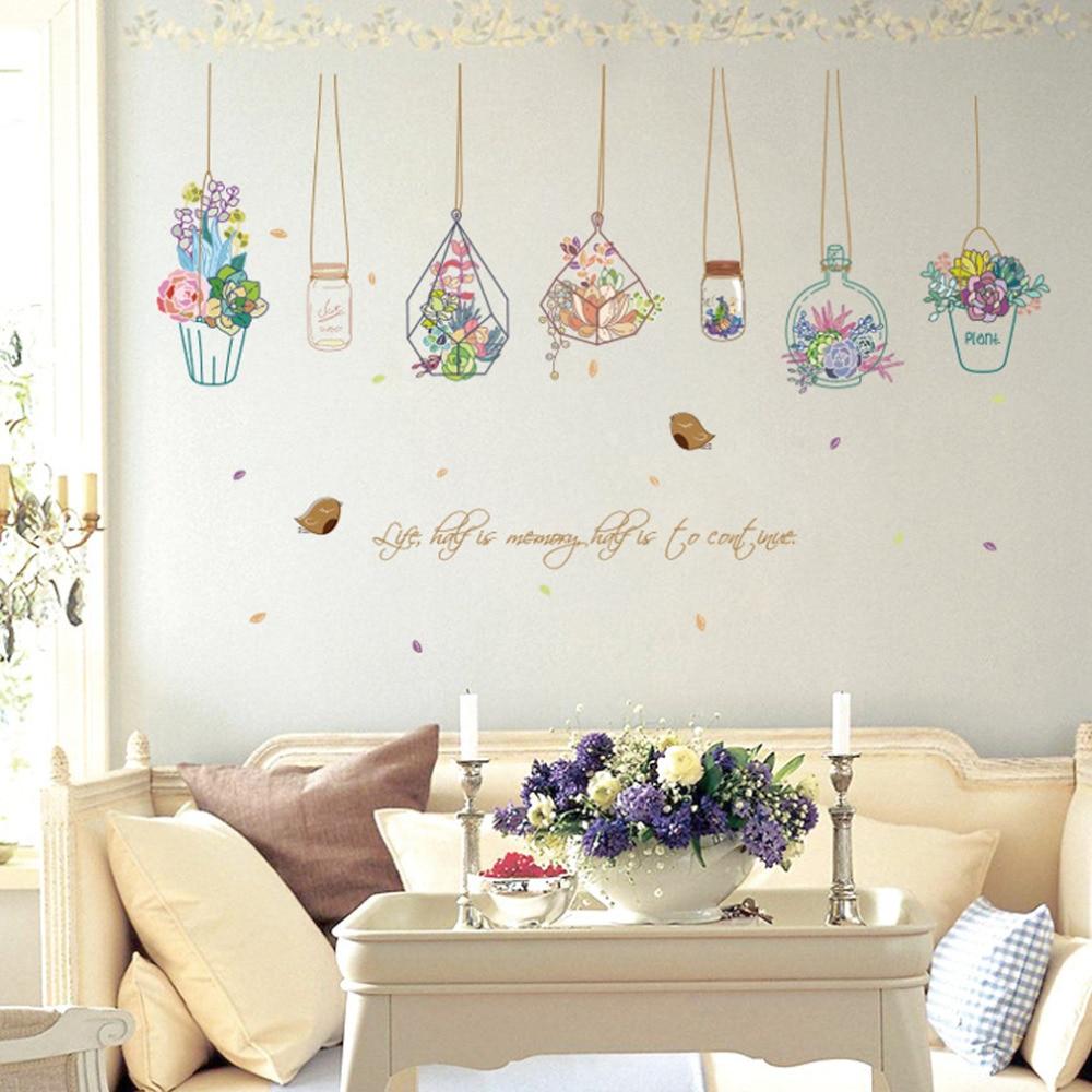 hermoso jarrn patern pvc pegatinas de pared papel pintado decoracin de la sala tatuajes de pared