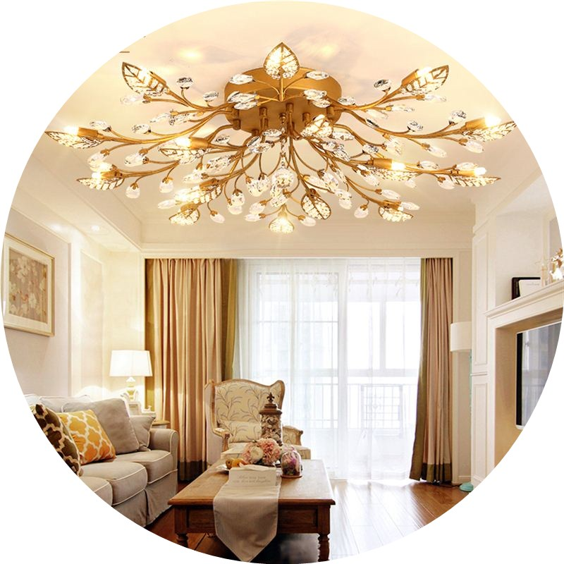 American Creative Personality Country Crystal Tree Branch Candle Chandelier Living Room Bedroom