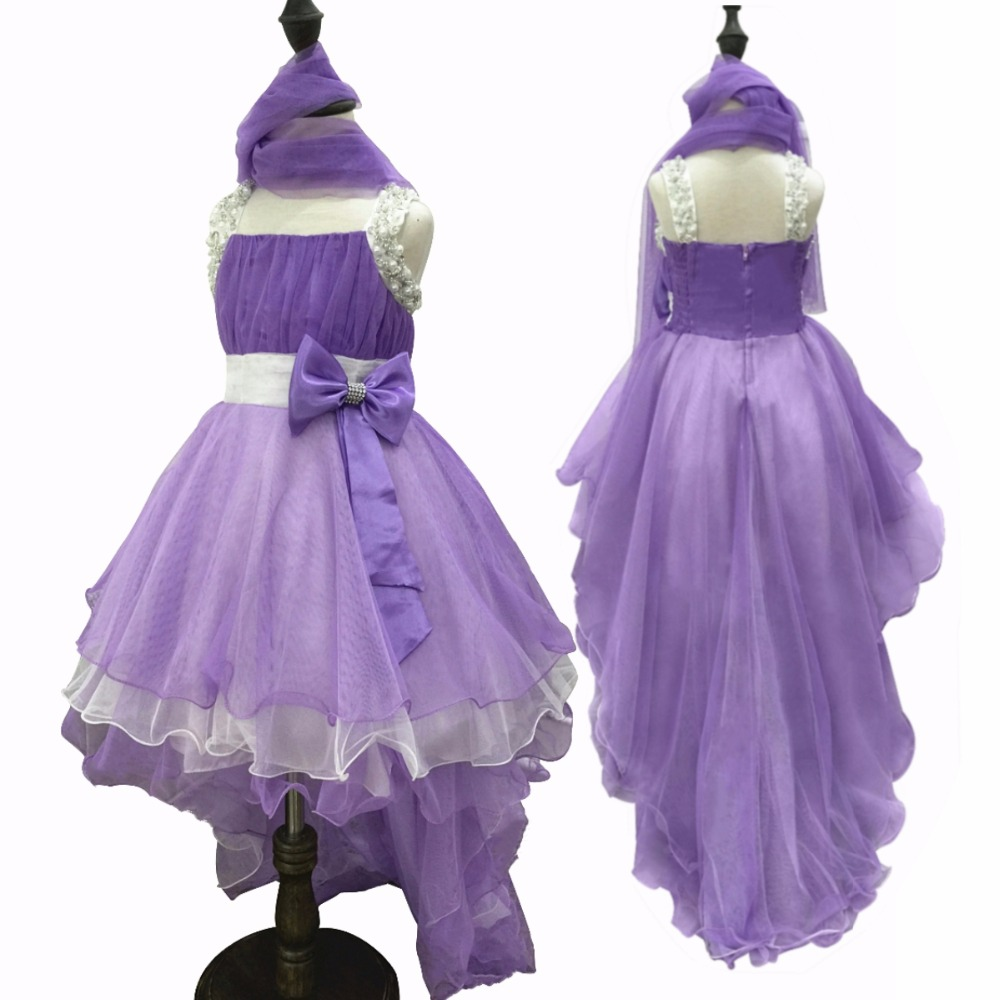 Free Shipping Hot Sales 2017 New Girl Princess lavender Dresses For Girls 8 Years Kids Dress Party Evening Gowns With Long Train