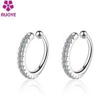 New 925 Sterling Silver Ear Cuff Crystal Clip On Earrings Earcuff Femme 2020 Fashion Jewelry Oorbellen