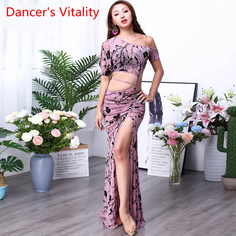 Woemn Belly Dance CLothing Dress Female New Sexy Oriental Dance Dress Printed Performing Dress Girls Costumes M,L