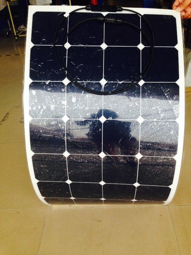Sunpower flexible solar panel 12v 100w; monocrystalline semi flexible solar panel 100w; solar cell 21% charging efficiency