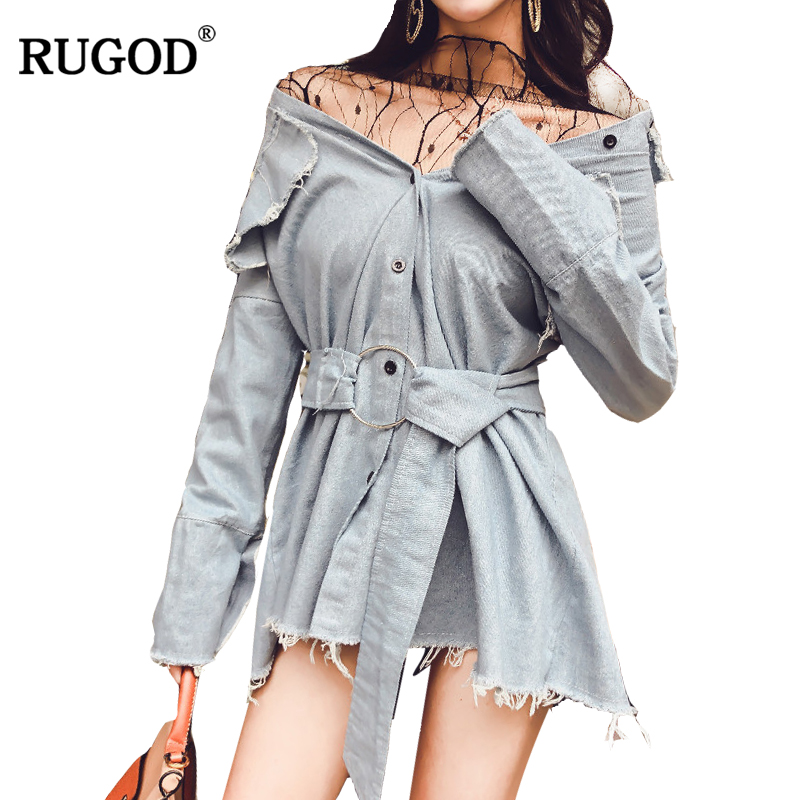 RUGOD Casual Women Shirt Dress 2018 New Arrival Spring Summer Elegant Female Dress Long Sleeve Knitted Fashion Dress with Sashes 2016 spring summer new style romantic floral printing lapel button fly long sleeve woman shirt chiffon dress with pocket design