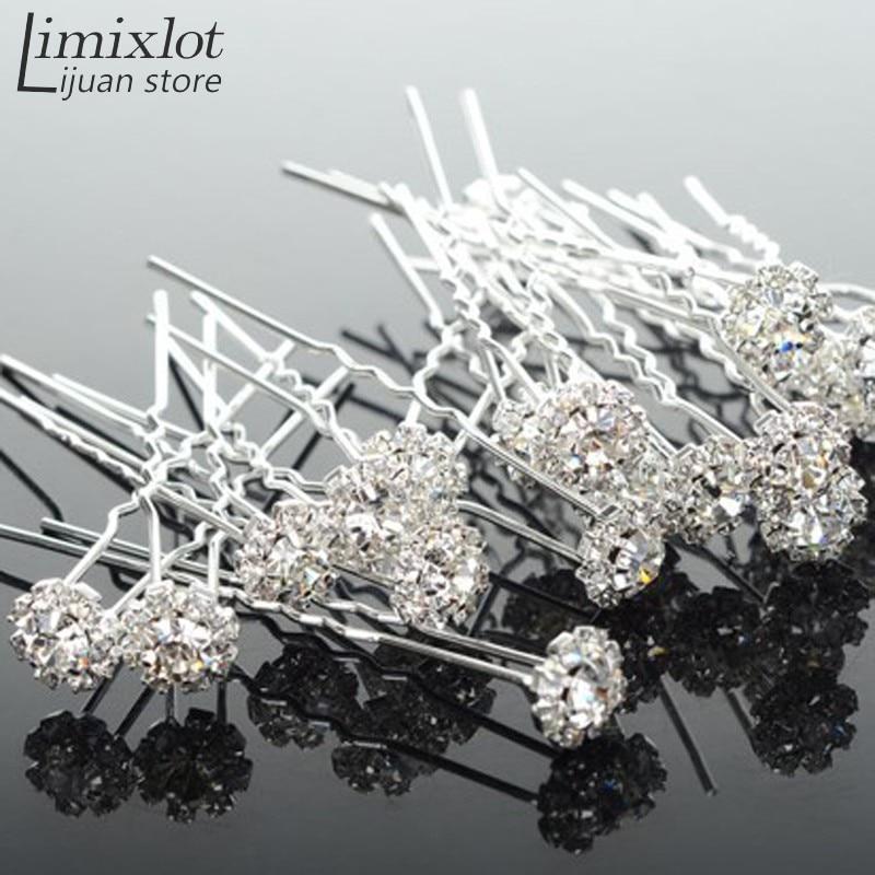 20 pièces lot De Mode U Forme Cristal Cheveux Fourchette Fleur Épingle à  Cheveux Bâtons ae48f3efded7
