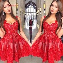 Red Short Cocktail Dresses Party Lace Graduation Women Prom Plus Size Coctail Mi