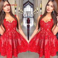 Red Short Cocktail Dresses Party Lace Graduation Women Prom Plus Size Coctail Mini Semi Formal Dresses