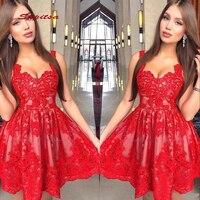 Red Short Cocktail Dresses Party Lace Graduation Women Prom Plus Size Coctail Mini Semi Formal Dresses
