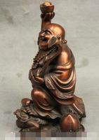 S1377 7 Chinesischen Buddhistischen Reine Bronze Glücklich Lachen Maitreya RuYi Fahrt Toad Buddha Statue-in Statuen & Skulpturen aus Heim und Garten bei