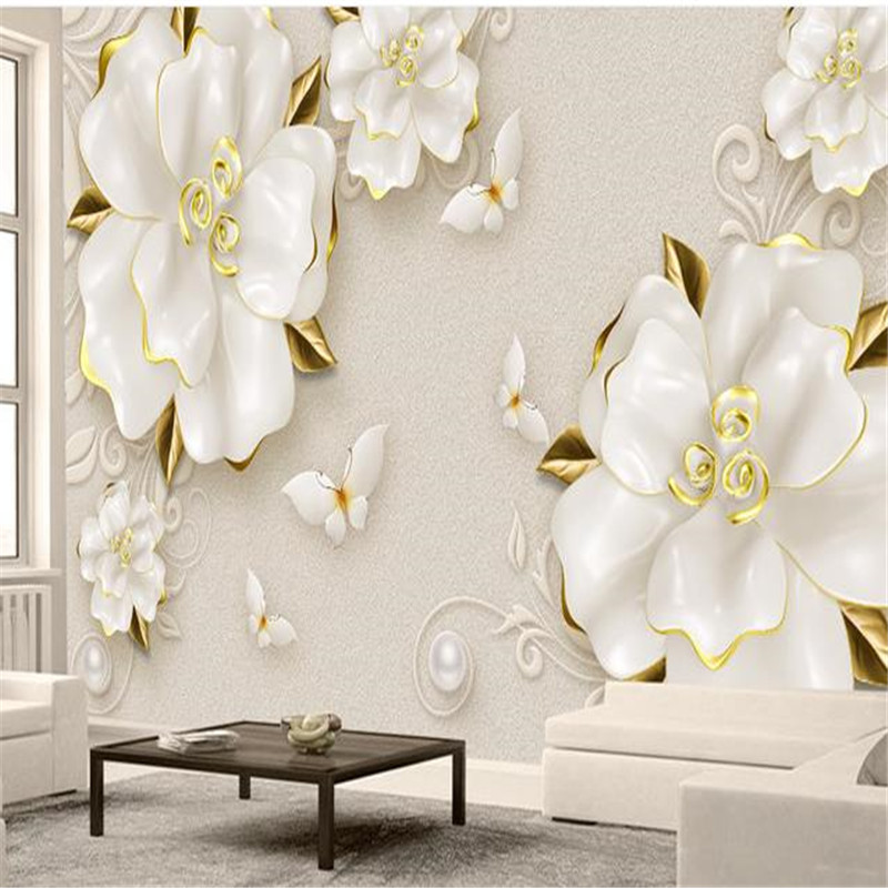 Custom Photo Wallpapers 3D Wall Luxury White Jewelry Golden Flowers Wallpapers for Living Room Bedroom Wall Papers Home Decor custom photo wallpapers for walls 3d modern non woven wall papers mural for bedroom living room home decor flowers oil painting