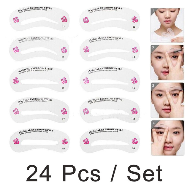 24 Pcs/pack Grooming Stencil Kit Shaping DIY Beauty Eyebrow Template Make Up Tool Hot Sale
