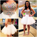 Free Shipping White Short Cocktail Homecoming Dresses 2017 Cheap Sweetheart Crystal Beaded Tulle A-line Party Prom Dress Gowns