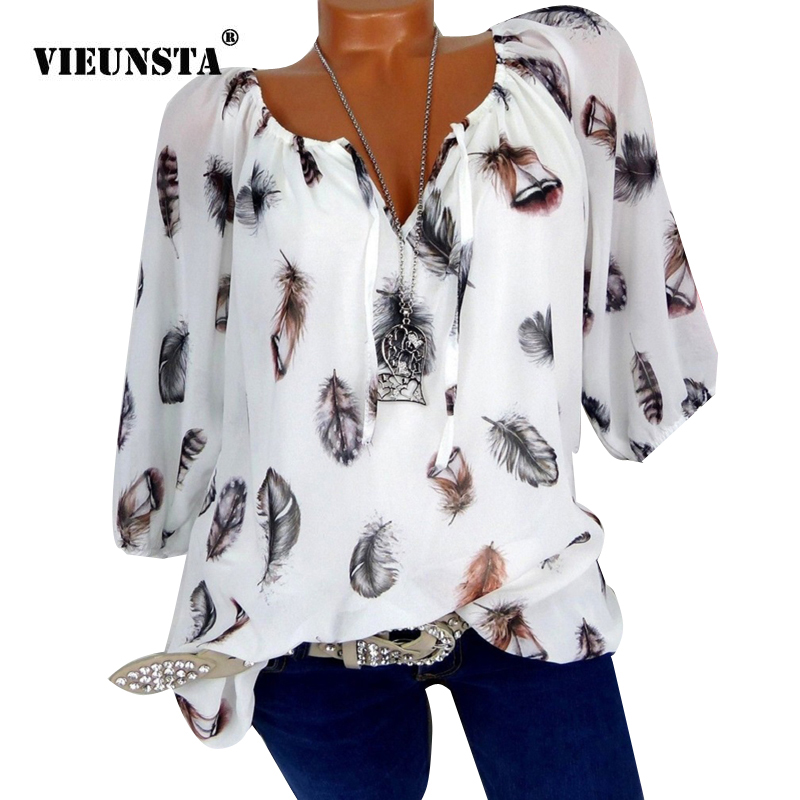 VIEUNSTA Fashion 5XL Plus Size Women's   Blouses   Chiffon Summer Tops New Casual Loose Feather Print V Neck Half Sleeve   Shirt   Blusa