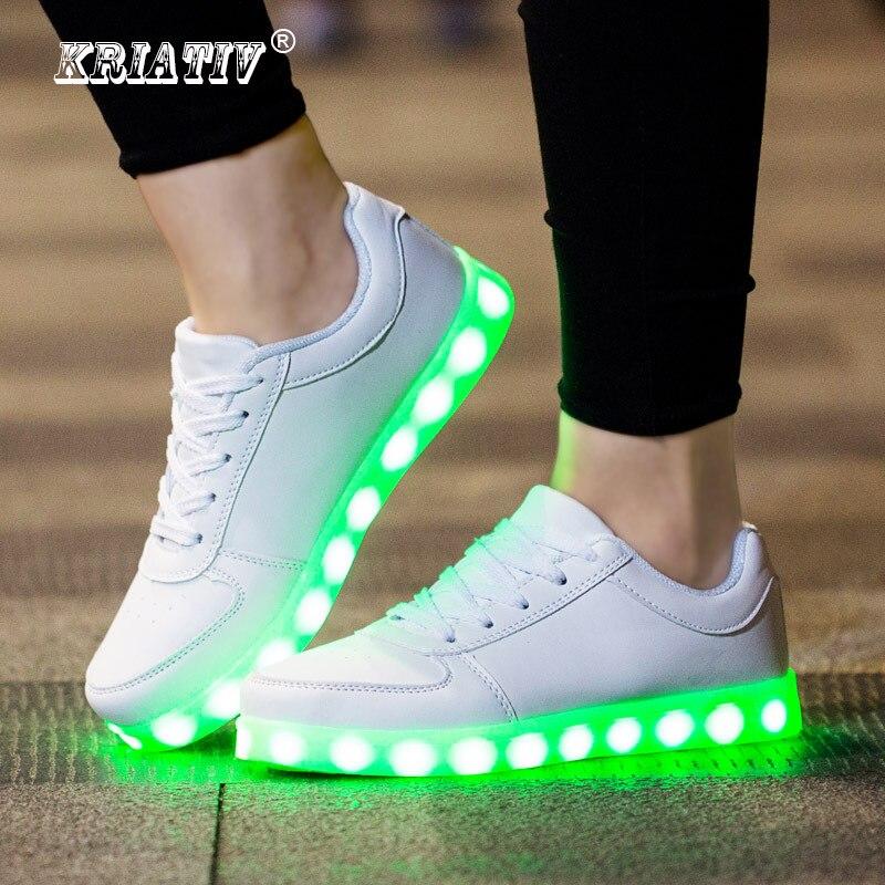 scarpe di separazione 877ba a131c US $12.39 44% di SCONTO KRIATIV Caricatore USB incandescente scarpe da  ginnastica Illuminato scarpe per il Ragazzo & Ragazza Casual led scarpe per  i ...