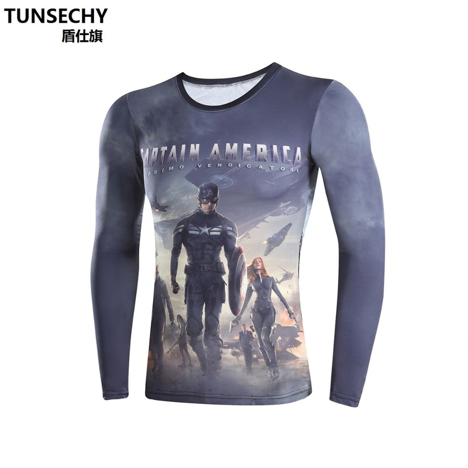 Moto TUNSECHY Brand of 3D digital printing compressed t shirts men long sleeve T shirt captain