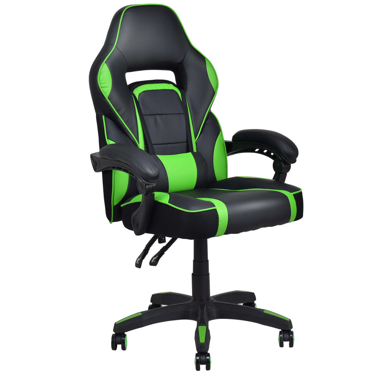 Giantex Executive Racing Style PU Leather Computer Gaming Chair High Back Recliner Modern Swivel Home Office Chair HW56246GN giantex pu leather high back racing style bucket seat gaming chair with head pillow modern office desk computer chairs hw52433
