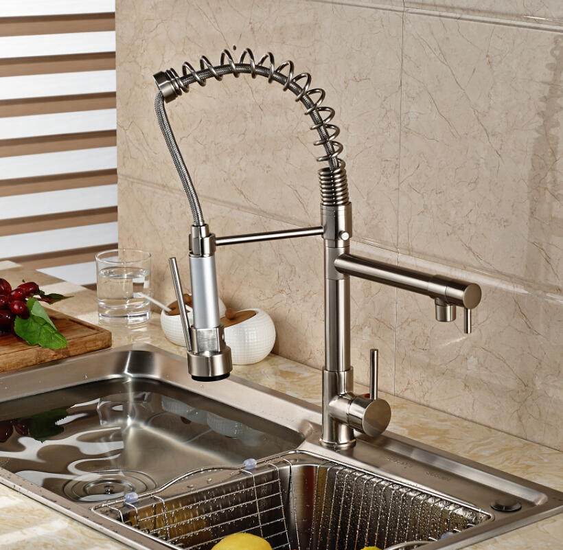 Free Shipping Brushed Nickel Spring Kitchen Sink Faucet Double Spray Single Handle Mixer Taps Deck Mounted цена 2017