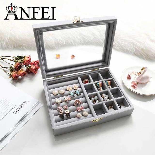 ANFEI Velvet Glass Jewelry Display Box 201545cm Jewelry Tray