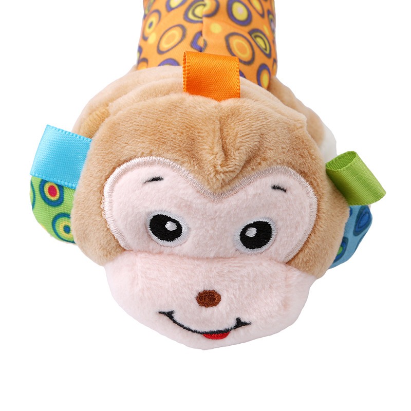 Baby Rattle Toys Animal Hand Bells Plush Baby Toy Monkey Lion BB Sound With Mirror Newbron Gift Christmas Animal Style