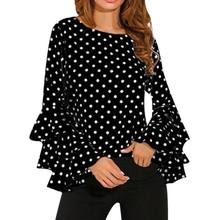 Women Polka Dot Blusas Shirts Spring Fashion O Neck Long Sleeve Blouse Femininas Casual Tops Plus Size 4XL 5XL Shirt(China)