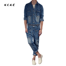 New Fashion Suspenders multi-pocket jeans detachable Men's full sleeve denim overalls Casual long length jeans Jumpsuits