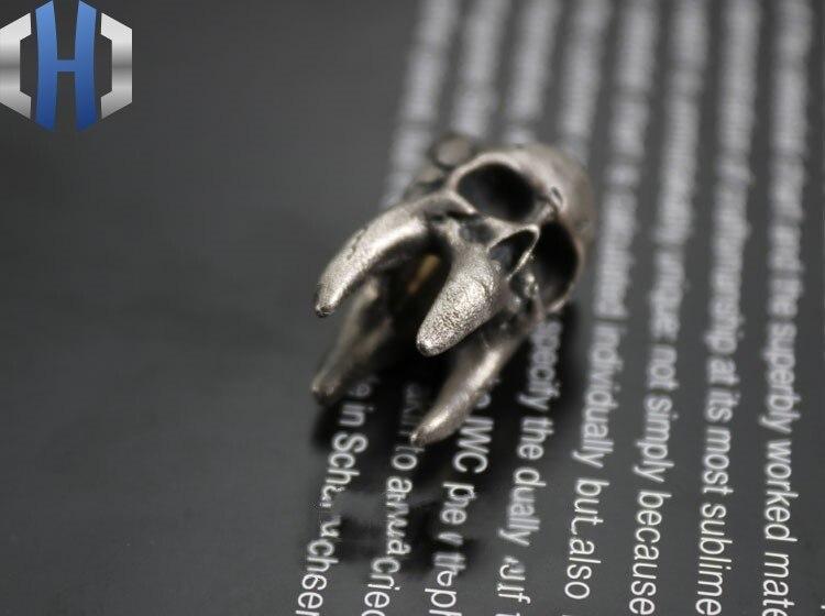 Стерлинговое Серебро 925 пробы, ручная работа, винтажный зуб, парик, Череп, кулон, EDC нож, beadsTool, аксессуары, брелок - 3