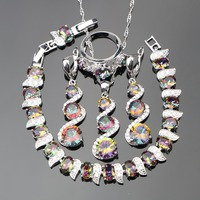 Natural Magic Rainbow Stones Silver 925 Jewelry Sets For Women White CZ Ring Size 6 7