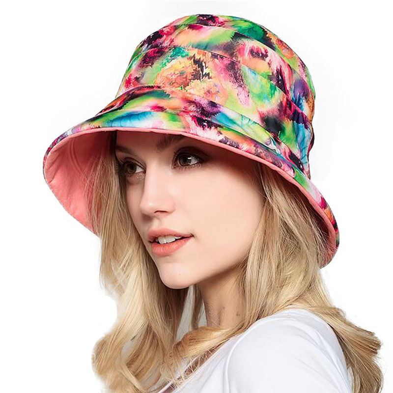 4fd40c2c907 FS Pink Wide Brim Sun Hat Both Sides Wear UV Protect Summer Beach Visor Hats  For Women Flower Print With Bowknot Foldable Caps-in Sun Hats from Apparel  ...